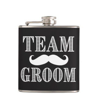 Team Groom Groomsman Flask mustache dapper Gift