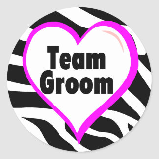 Team Groom (Heart Zebra Stripes) Stickers