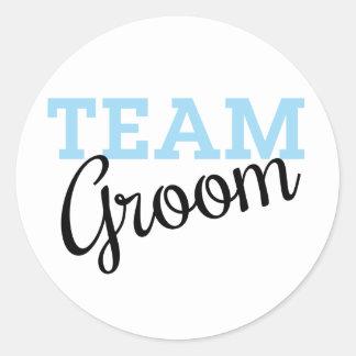 Team Groom Script Round Sticker