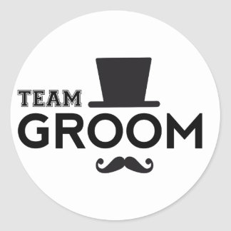 Team Groom with hat and mustache Classic Round Sticker