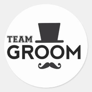 Team Groom with hat and mustache Round Sticker