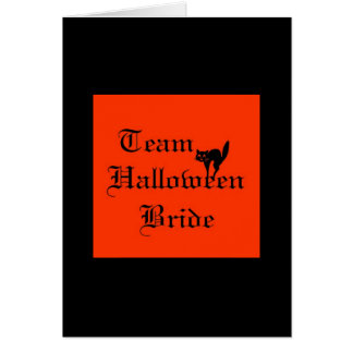 Team Halloween Bride with black cat Greeting Cards