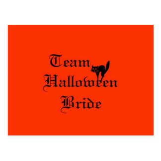 Team Halloween Bride with black cat Post Card