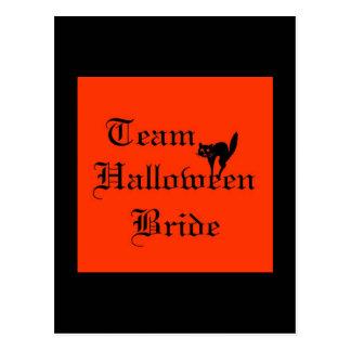Team Halloween Bride with black cat Postcard