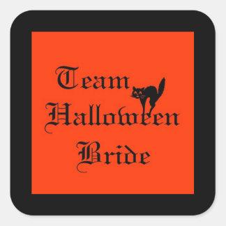 Team Halloween Bride with black cat Square Sticker