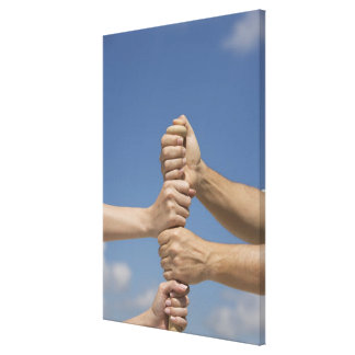 Team Hands on Bat Canvas Print