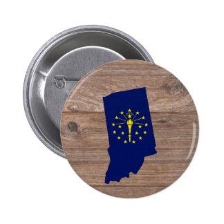 Team Indiana Flag Map on Wood 6 Cm Round Badge