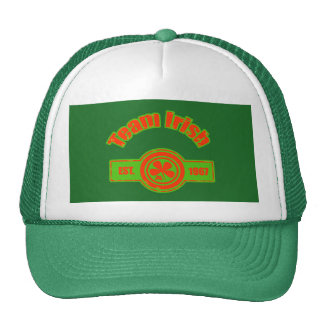 Team Irish Green Red Distressed Logo Cap