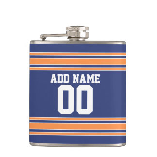 Team Jersey Stripes Custom Name and Number Hip Flask