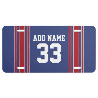 Team Jersey Stripes Custom Name and Number License Plate