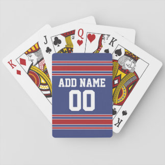 Team Jersey Stripes Custom Name and Number Playing Cards