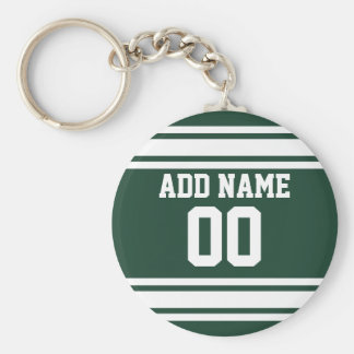 Team Jersey with Custom Name and Number Basic Round Button Key Ring
