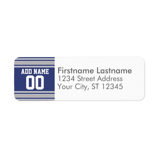 Team Jersey with Custom Name and Number Return Address Label