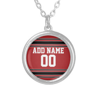 Team Jersey with Custom Name and Number Round Pendant Necklace