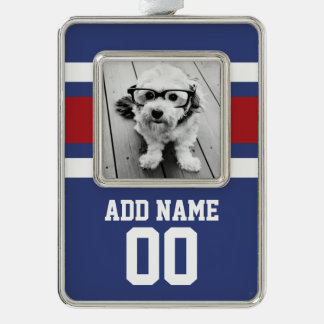Team Jersey with Custom Name and Number Silver Plated Framed Ornament