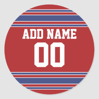 Team Jersey with Custom Name and Number Round Sticker