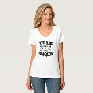 Team Joaquin Steak Is Coming Women White T VNeck T-Shirt