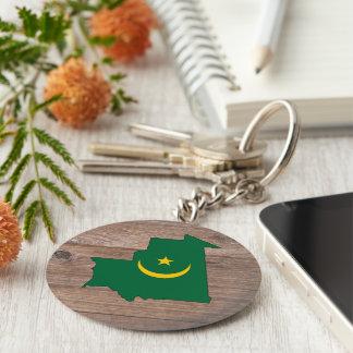 Team mauritania Flag Map on Wood Key Ring