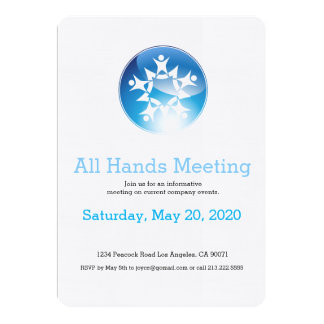 Team Meeting Glowing Blue Button Star Invitation