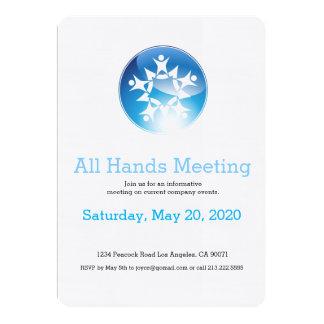 Team Meeting Glowing Blue Button Star Invitation