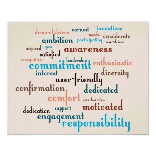 Team Motivation Word Cloud Customisable Background Poster