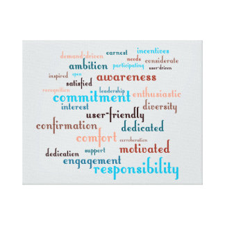 Team Motivation Word Cloud Customizable Background Stretched Canvas Print