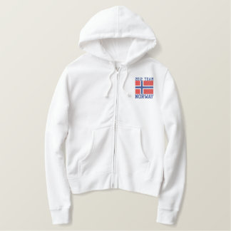 TEAM Norway  Dated Customizable Norwegian Flag Embroidered Hoodie