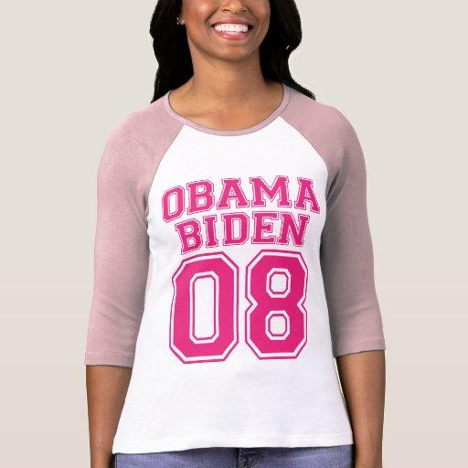Team Obama Biden 08 Pink Graphic Design Shirt