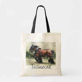 Team of draft horses tote bag