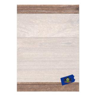 Team Pennsylvania Flag Map on Wood 13 Cm X 18 Cm Invitation Card