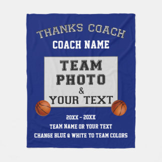 Team Photo, Text Best Gifts for Basketball Coaches Fleece Blanket