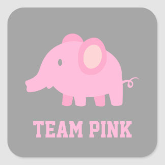 Team Pink, Baby Girl Elephant, Gender Reveal Party Square Sticker
