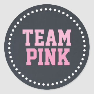 Team Pink Chalkboard Baby Gender Reveal Classic Round Sticker