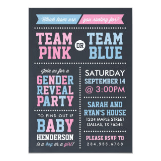 Team Pink or Team Blue Chalkboard Gender Reveal 13 Cm X 18 Cm Invitation Card
