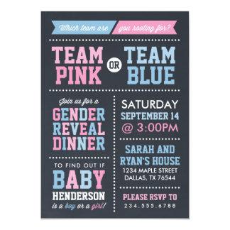 Team Pink or Team Blue Chalkboard Gender Reveal Card