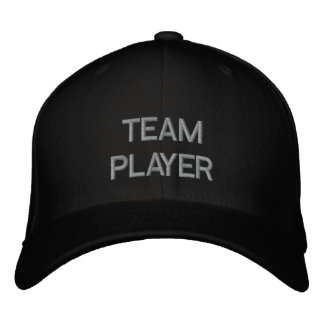 'TEAM PLAYER'  CAP EMBROIDERED BASEBALL CAPS