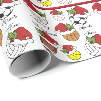 Team Player Sport Balls   Christmas Wrapping Paper