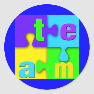 Team Puzzle Classic Round Sticker