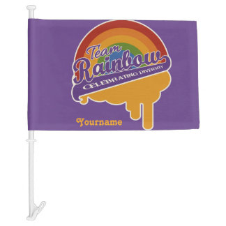 Team Rainbow custom car flag