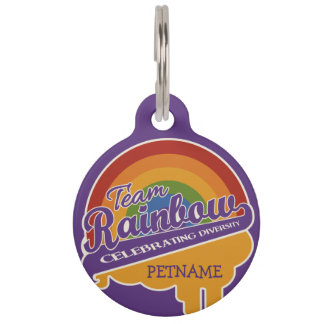 Team Rainbow custom pet tags