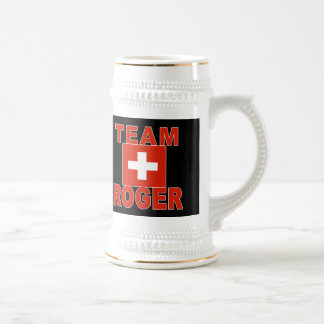 Team Roger with Swiss Flag Beer Steins