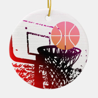 Team Sports Ball Basketball Net Coach Game Round Ceramic Decoration