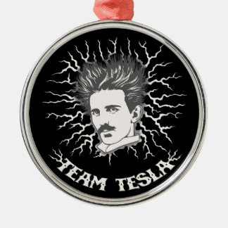 Team Tesla Static Hair Silver-Colored Round Decoration