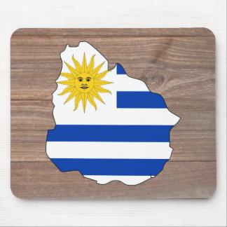 Team uruguay Flag Map on Wood Mouse Pad
