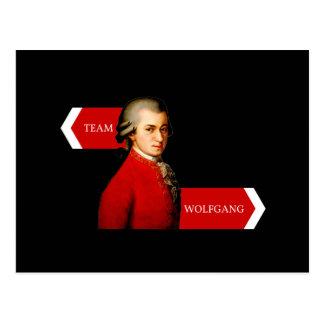 Team Wolfgang. Wolfgang Amadeus Mozart fan Postcard