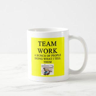 team work joke basic white mug
