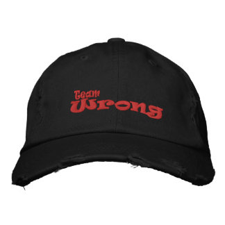 Team Wrong Black Hat Embroidered Baseball Caps
