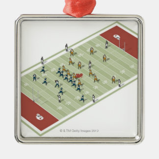 Teams on Canadian football pitch Silver-Colored Square Decoration