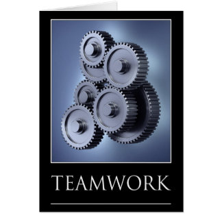 Teamwork concept with gear wheels card