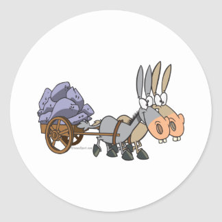 teamwork donkeys mules cartoon round sticker